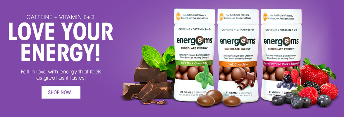 Caffeine + Vitamin B+D.  Love your Energy! Fall in love with energy that feels as great as it tastes!