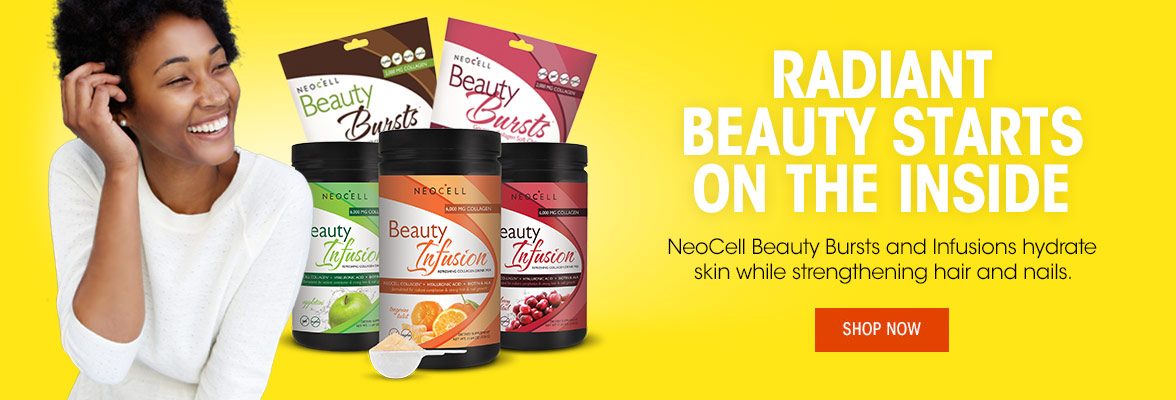 Radiant Beauty starts on the Inside. NeoCell Beauty Bursts and Infusions hydrate skin while strengthening hair and nails.