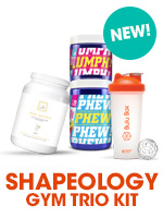 Shapeology Nutrition Gym Trio Kit featuring Umph! Preworkout drink and Phew! recovery mix