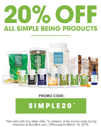 20% off all Simple Being products with promo code SIMPLE20